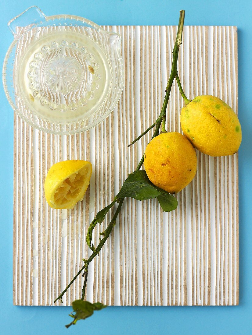 Lemons with branch and freshly squeezed juice