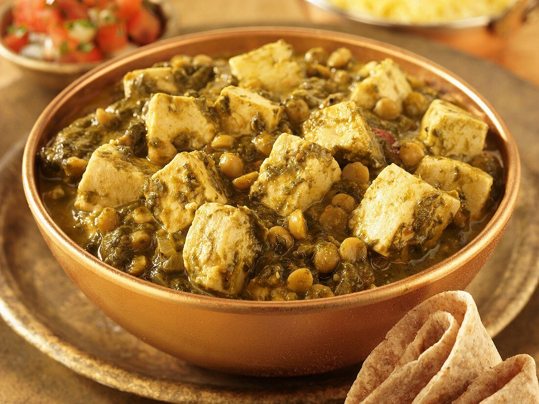 Palak paneer (spinach curry with cheese, from India)