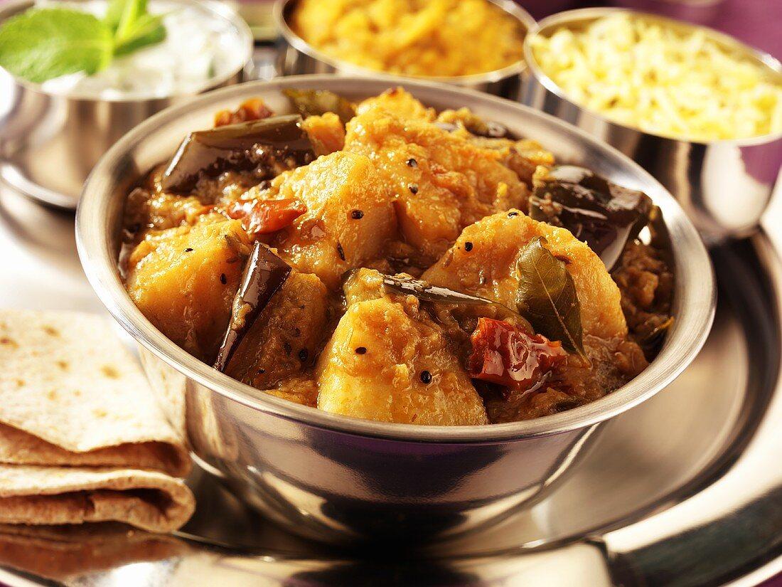Aloo baigan (potato and aubergine curry, India)