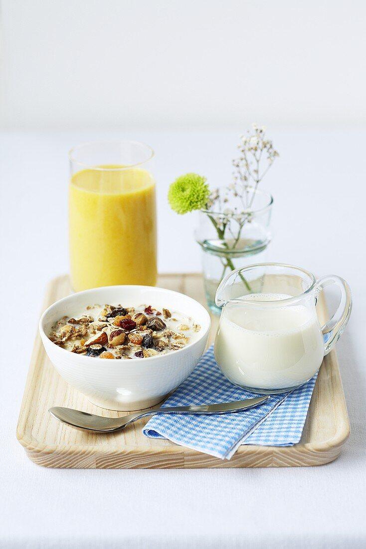 Muesli, orange juice and milk