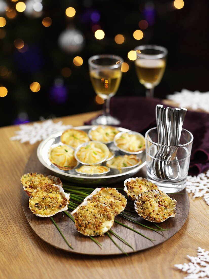 Scallops au gratin and mini fish pies for Christmas dinner
