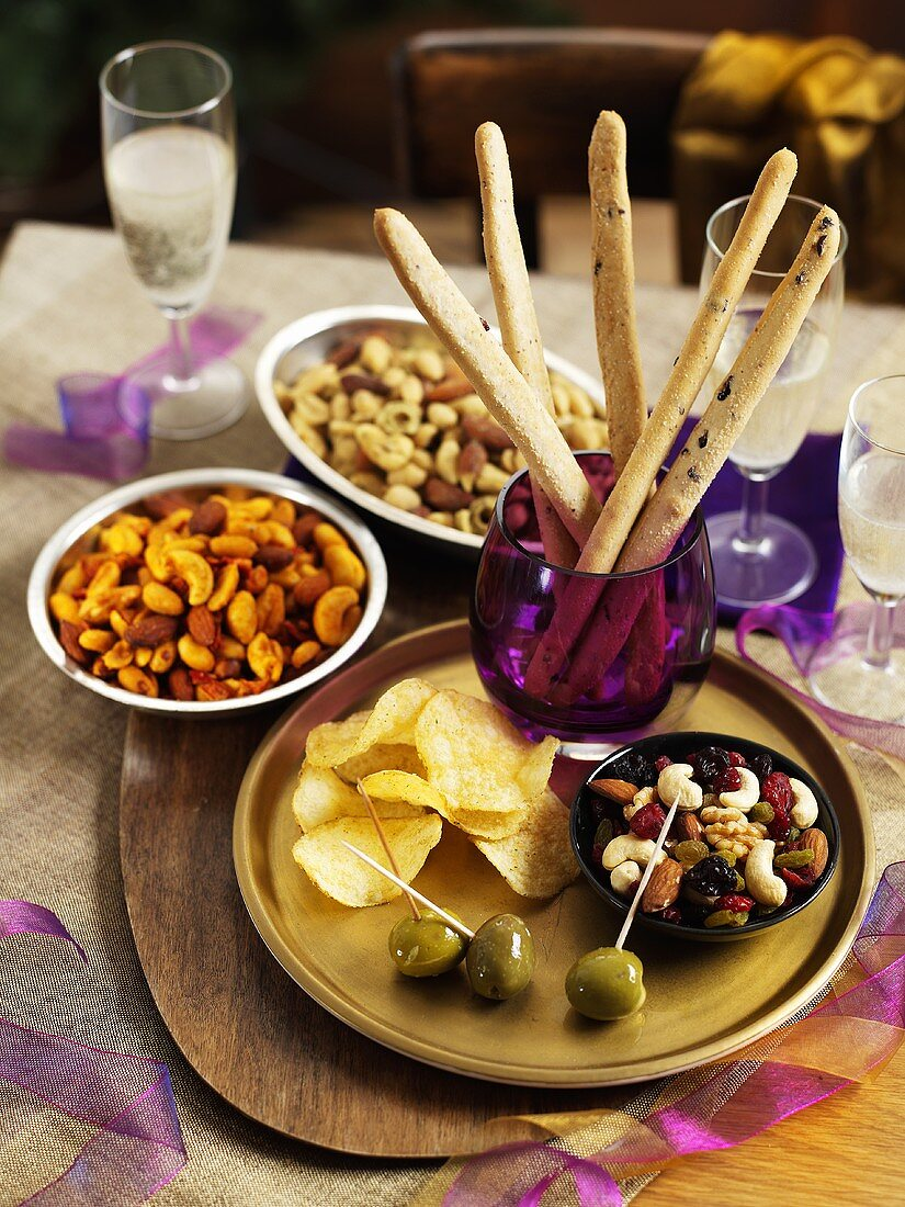Nuts, olives, crisps and grissini - Christmas snacks