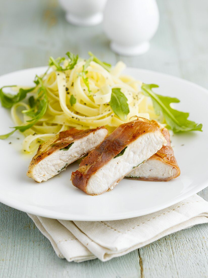 Turkey breast wrapped in Parma ham with tagliatelle
