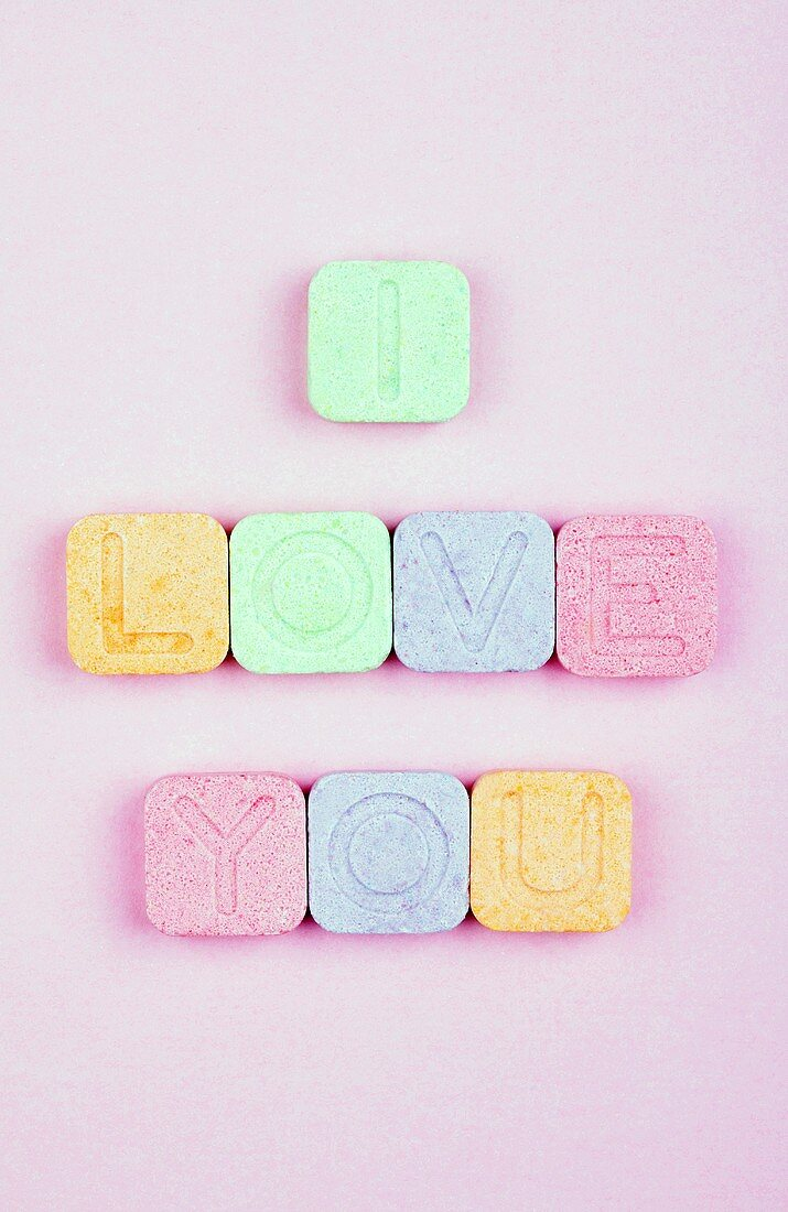 'I love you' spelt out using sherbet sweets