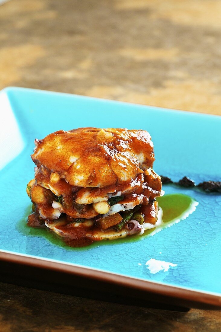 Octopus lasagne with vegetables