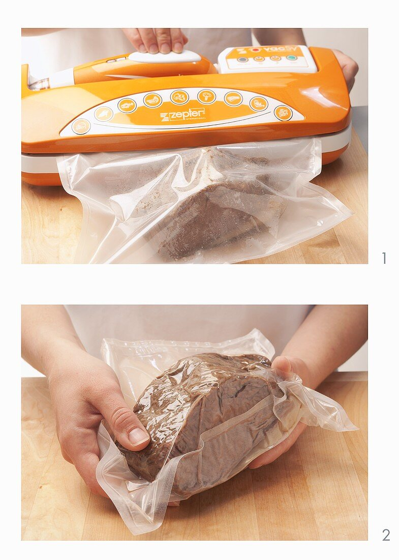 A piece of meat being vacuum packed