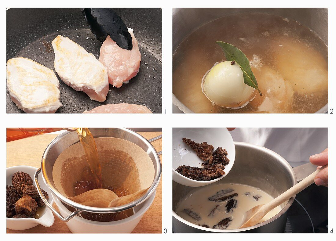 Poached chicken breast with morels in lemon sauce being prepared