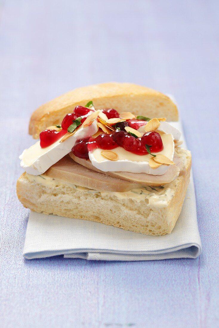 Turkey breast and Camembert on ciabatta bread