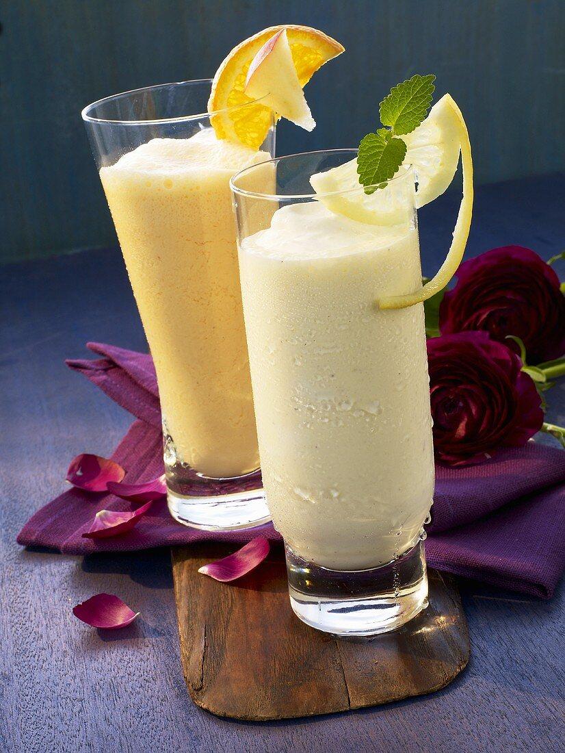 Sgroppino (lemon sorbet with Prosecco) and Flipper (orange juice and vanilla ice cream)