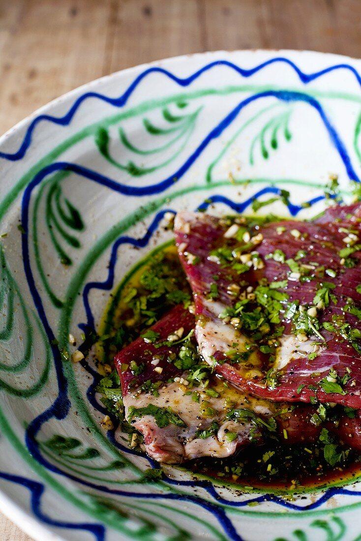 Flank steak in a herb marinade