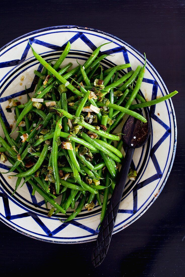 French beans with sesame seeds
