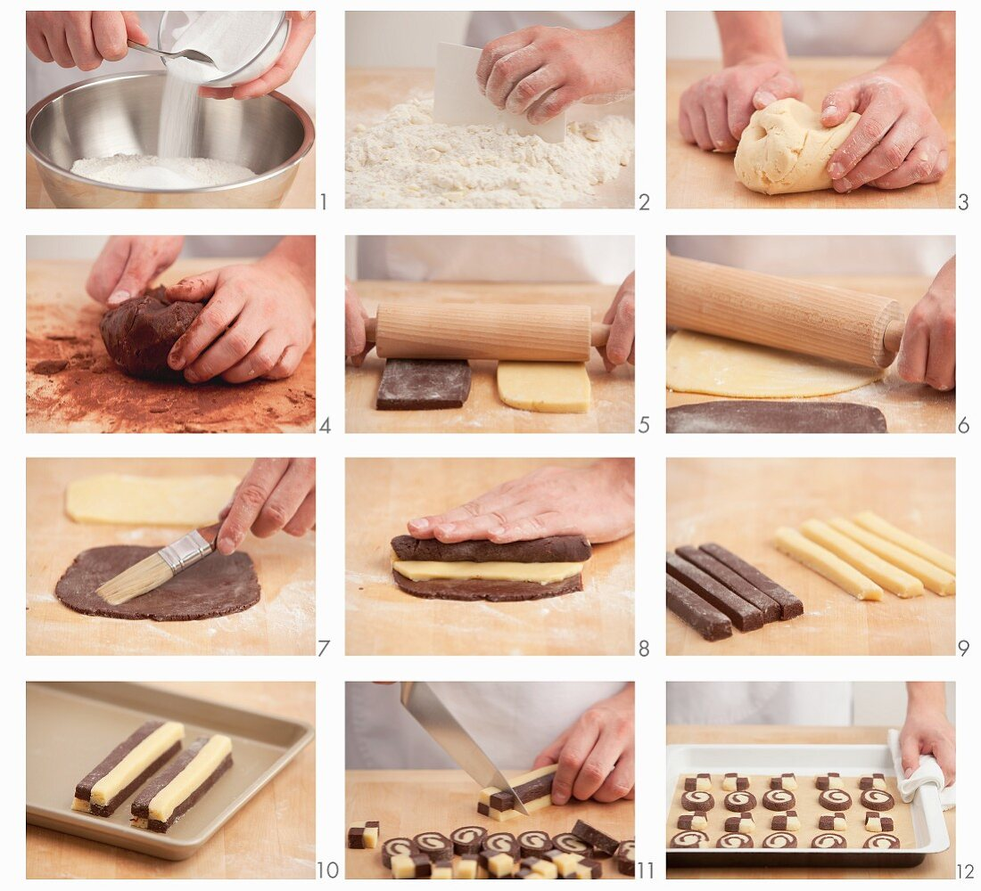 Black and white cookies being prepared