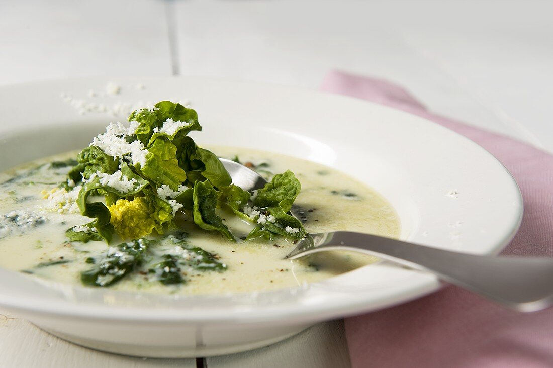 Zuppa di spinaci (spinach soup with parmesan, Italy)