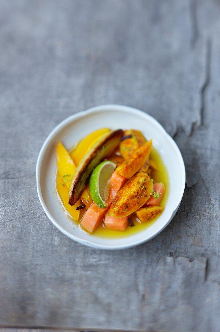 Fruit salad with prickly pear, mange, marinated papaya and banana