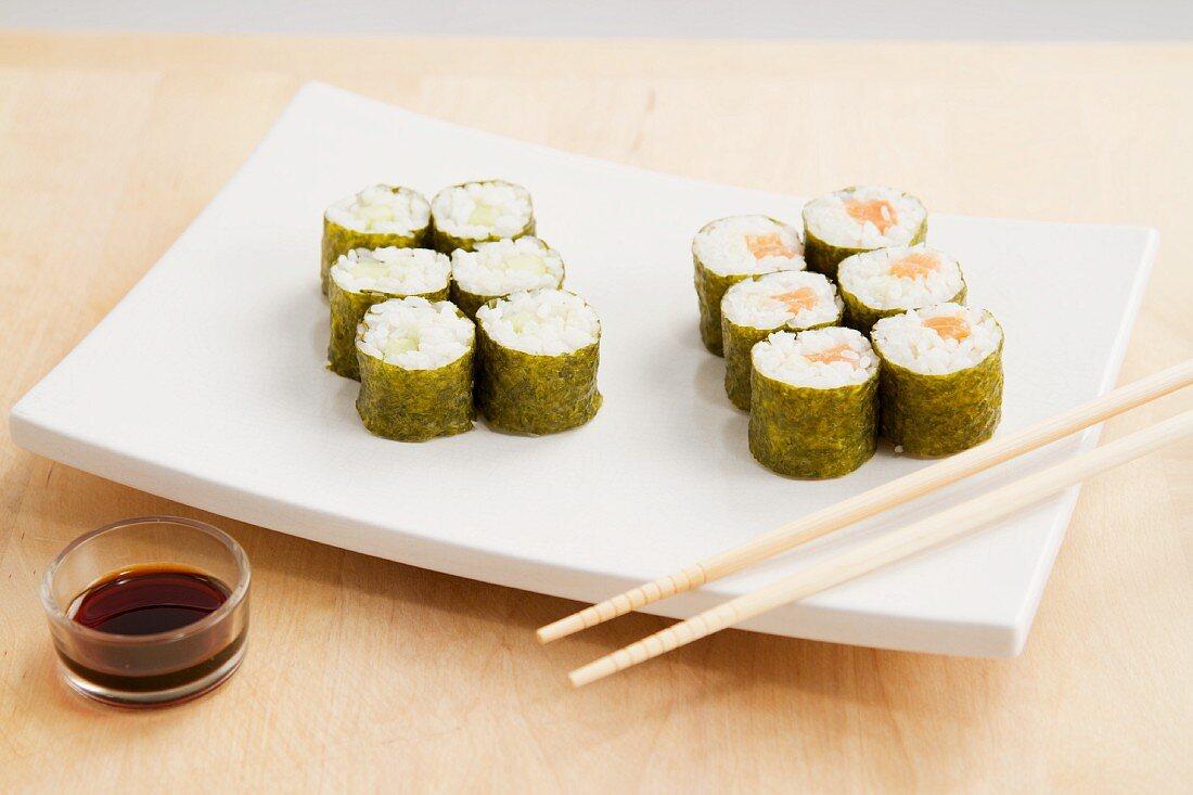Maki Sushi with salmon and cucumber