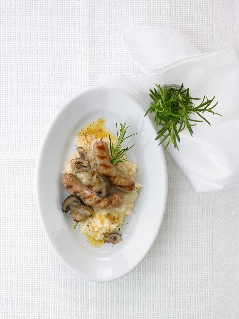 Salsiccia with porcini mushrooms and risotto
