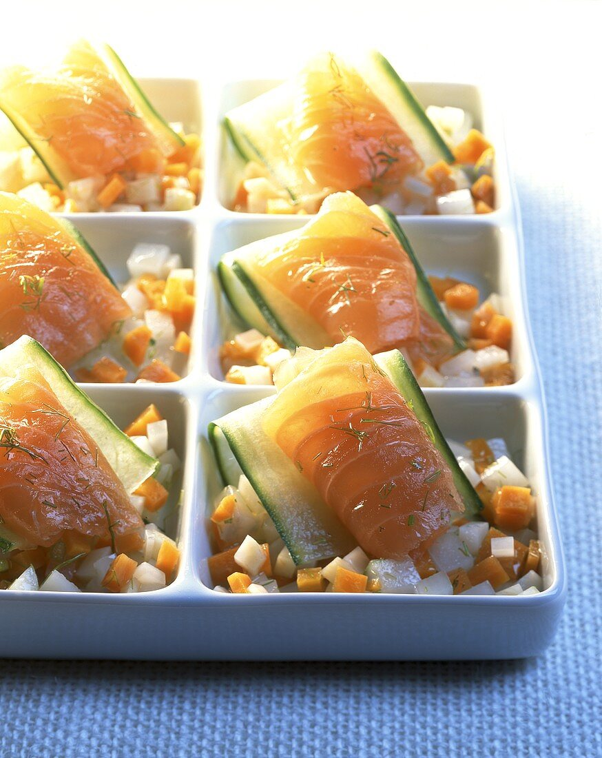 Salmon-vegetable snacks