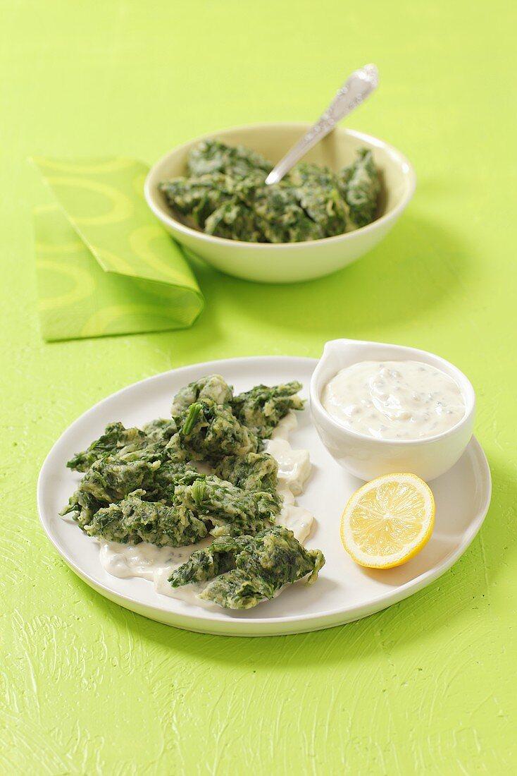 Spinach spätzle with quark sauce