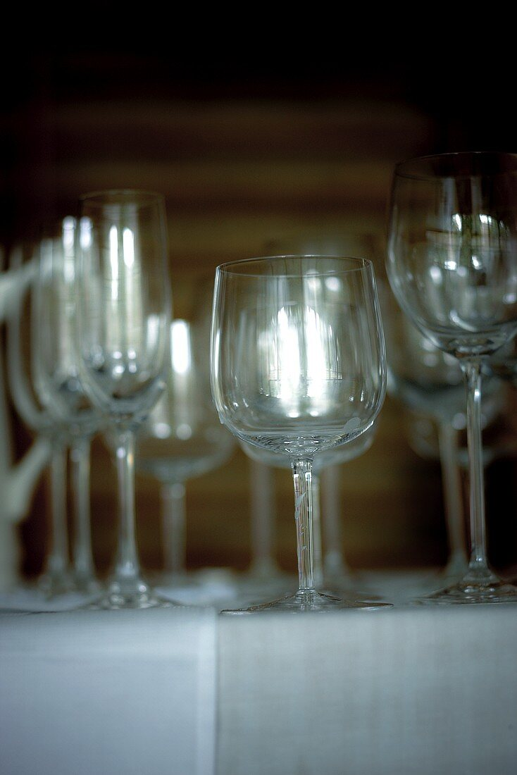 Empty wine and champagne glasses on a buffet table