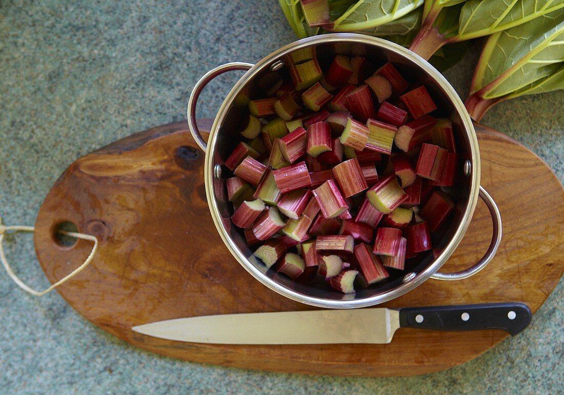 Chopped rhubarb in a pot