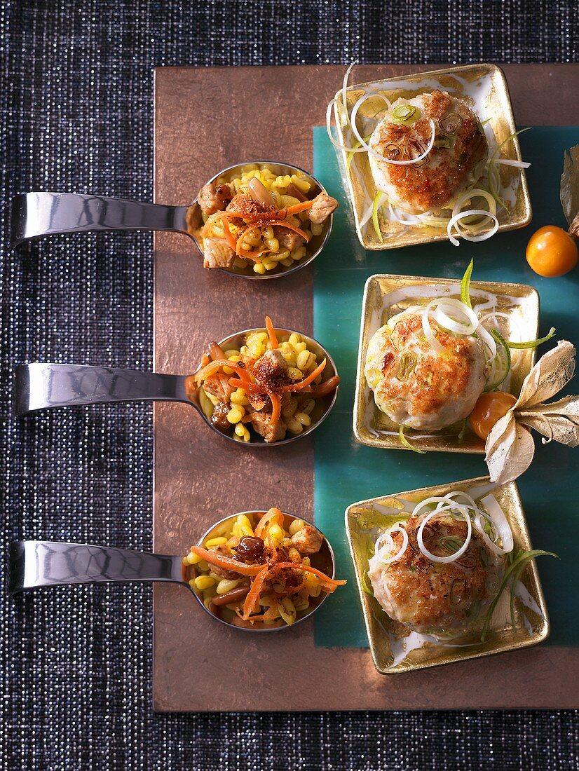 Mini meatballs and a delicate wheat salad with saffron
