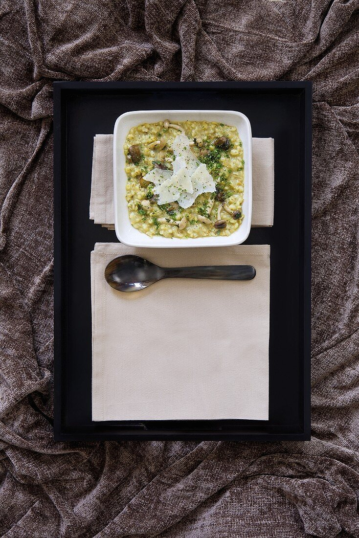 Pearl barley risotto with mushrooms and parmesan