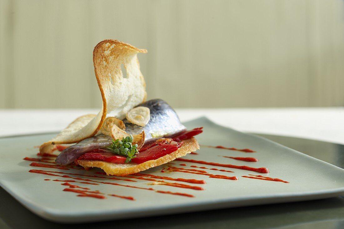 A sardine and pepper sandwich