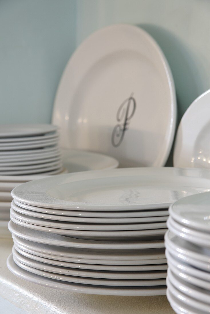 White plates with a monogram