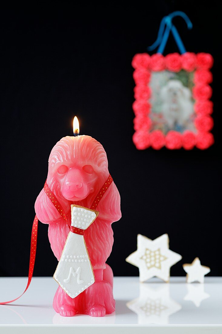 A monkey-shaped candle with with a shortbread tie