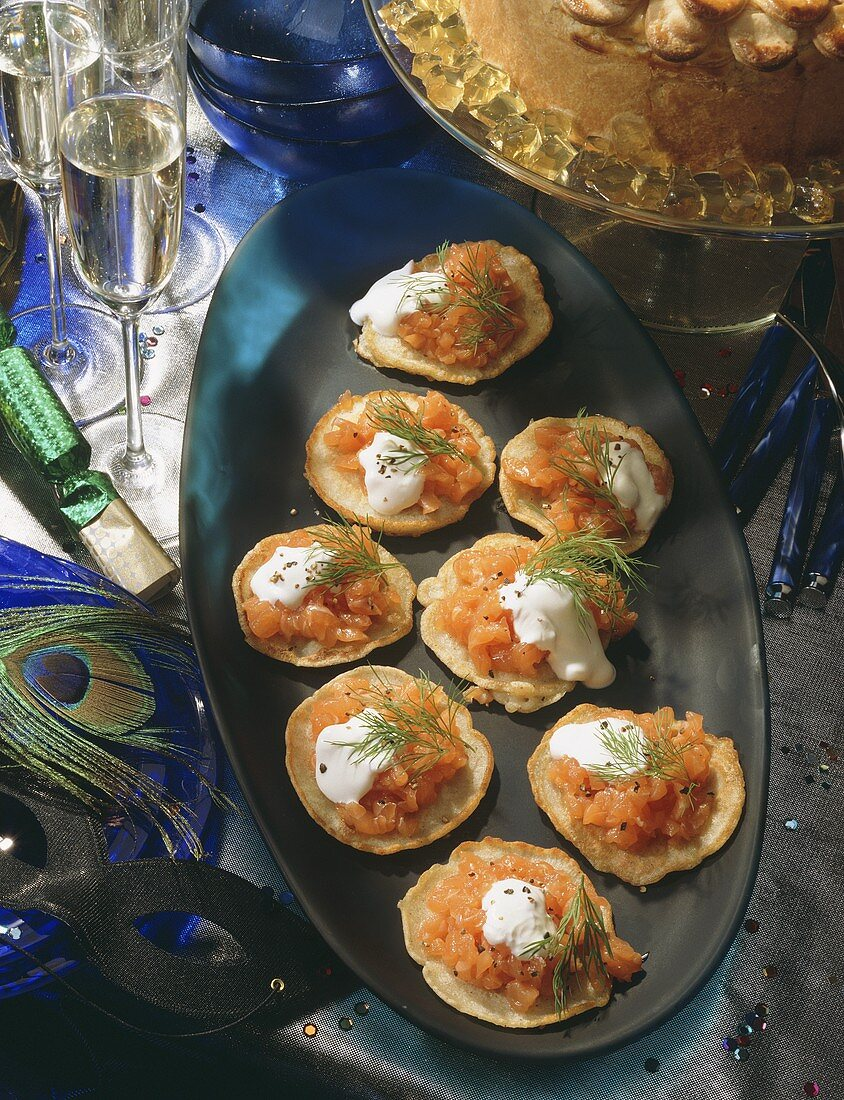 Open Blini Salmon Canape