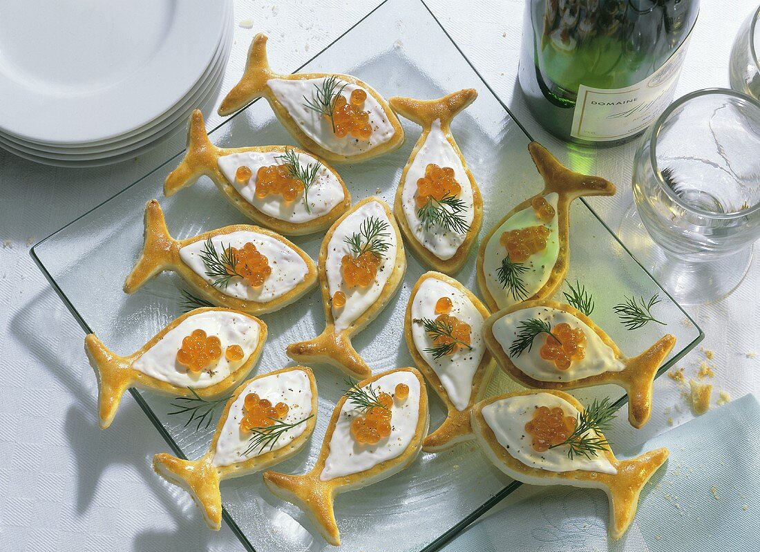 Puff Pastry Fish with Caviar Mousse