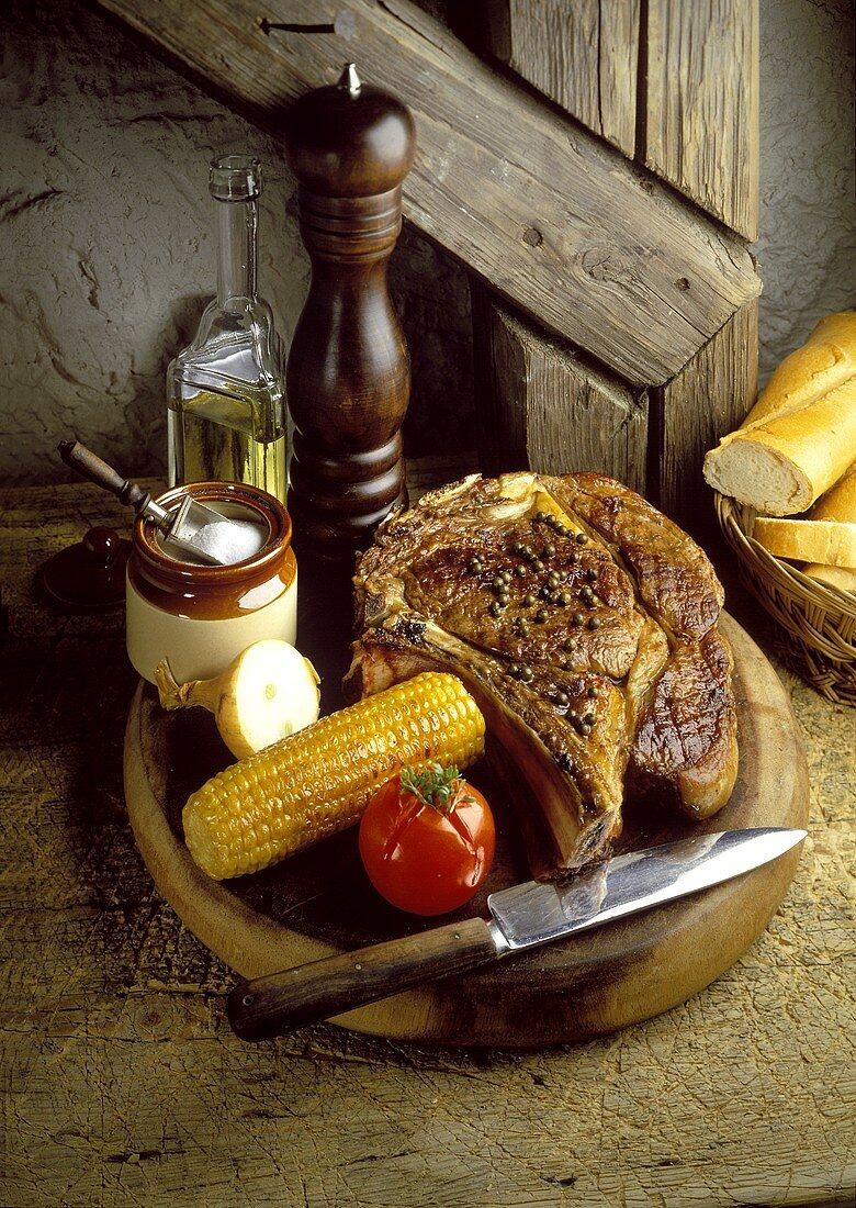 Cote de Boeuf with Corn-on-the-Cob