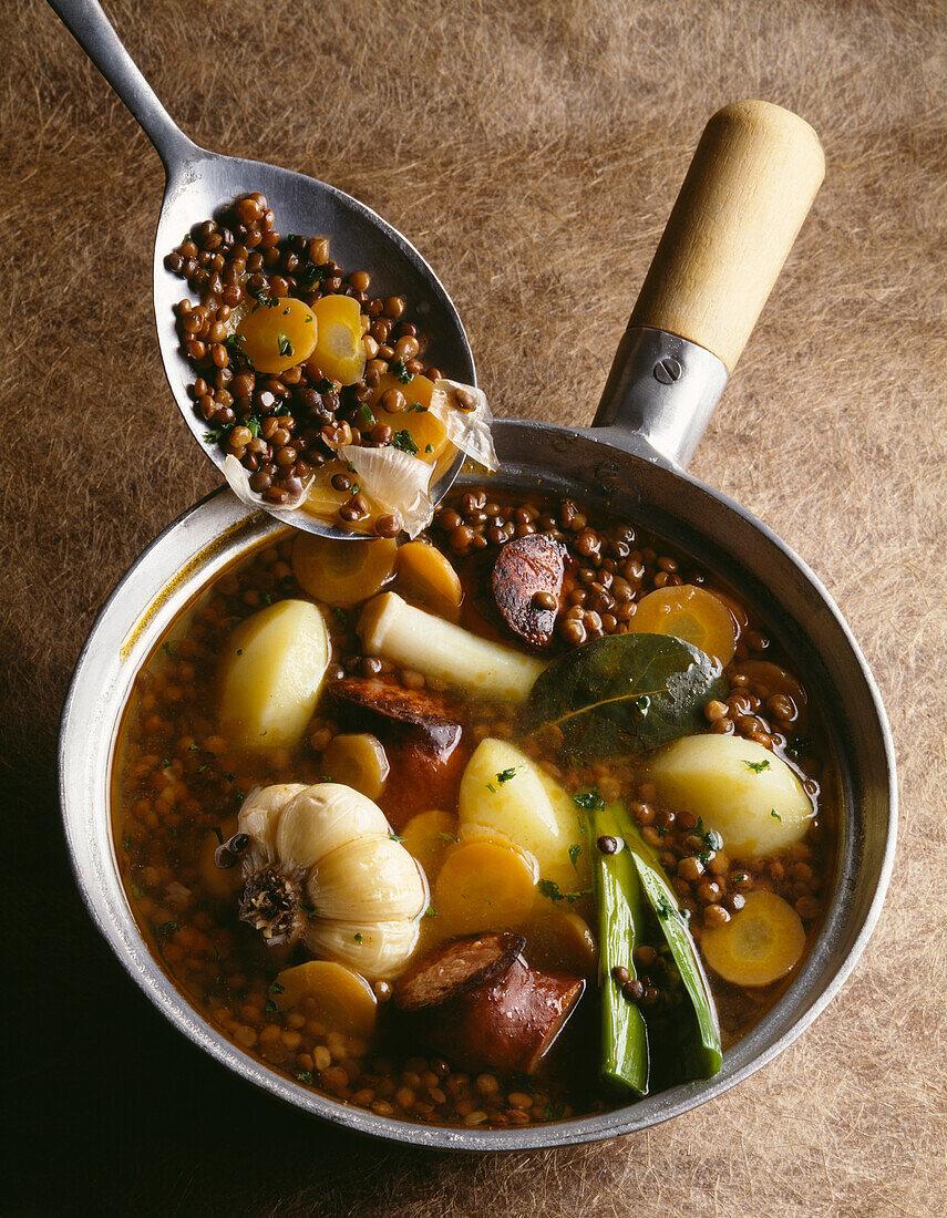lentil, sausage and vegetable soup