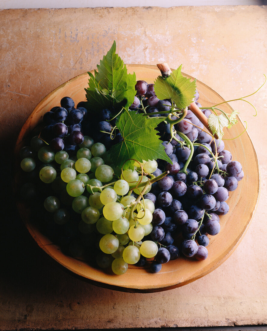 bunches of red and white grapes