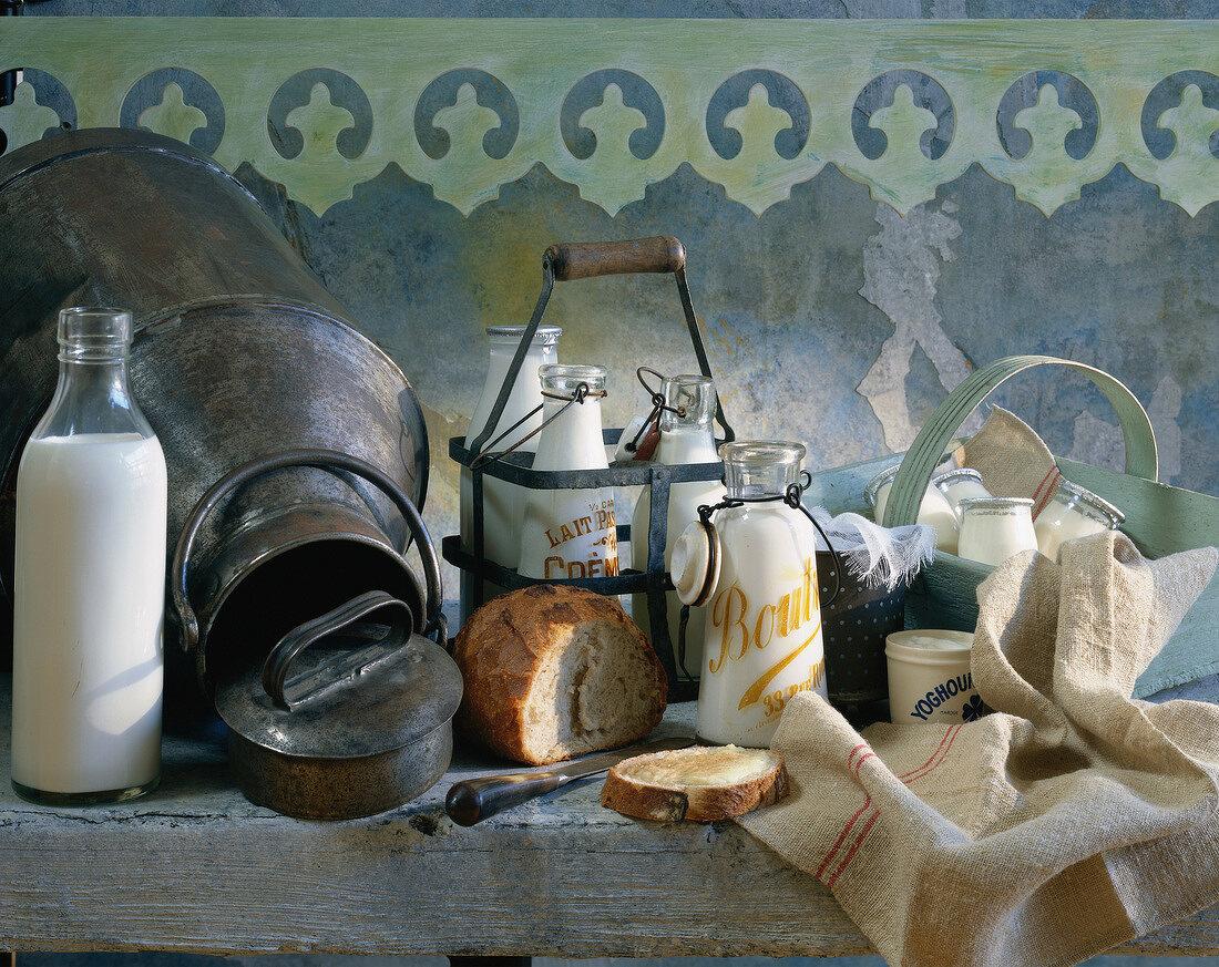 bottles and yoghurts - atmosphere