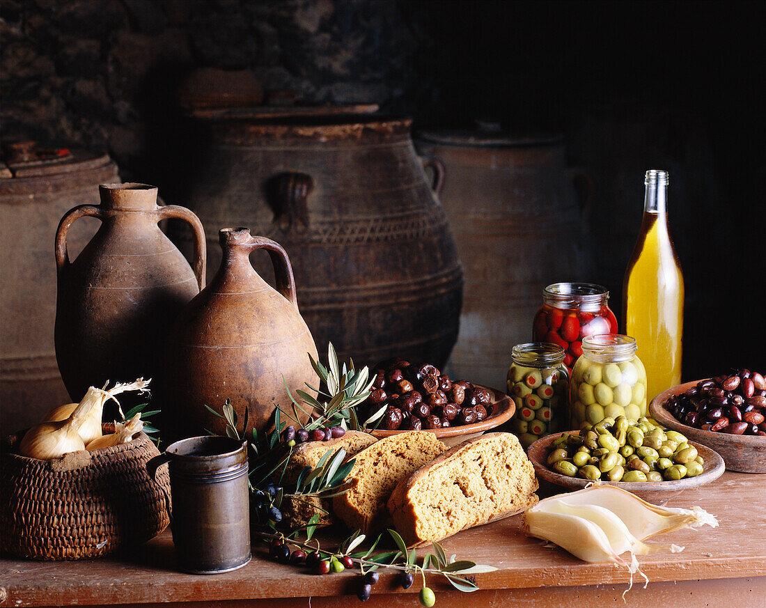 olive-themed still life