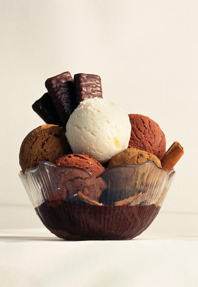 Punch-coco sherbet ice,moka,walnut,chocolate and fig-cinnamon ice cream