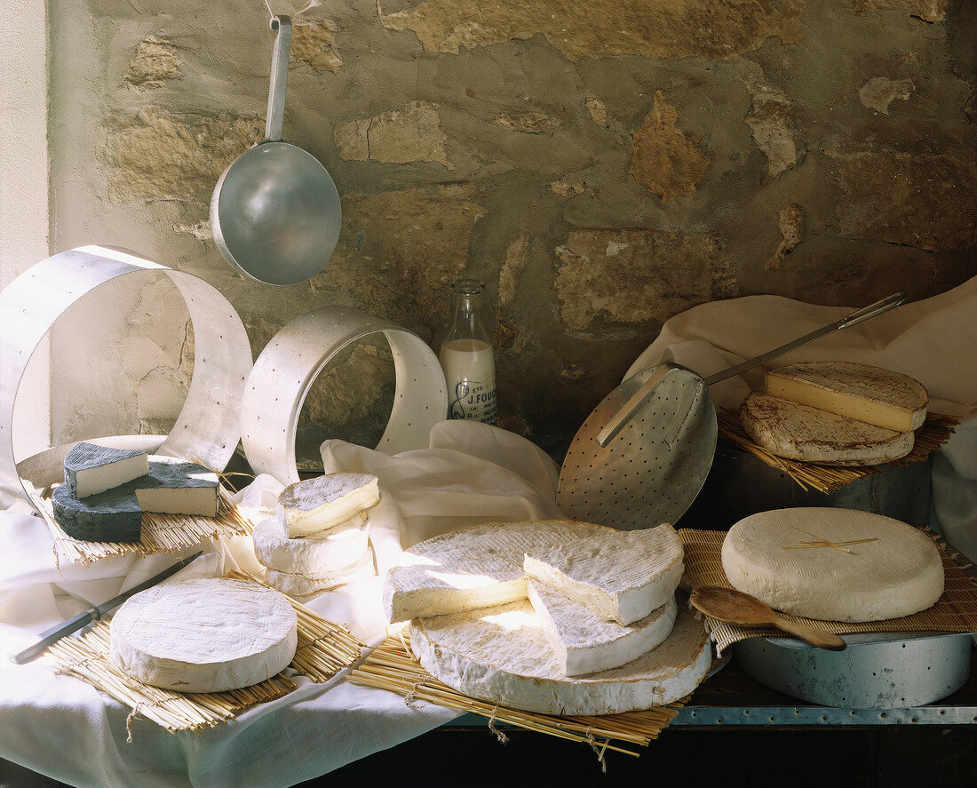 Assorted brie cheeses