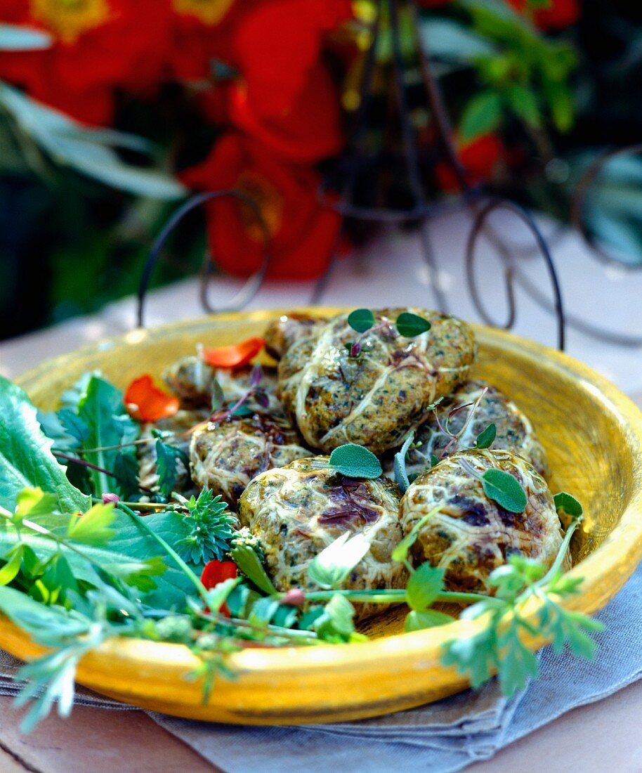 Duck Caillettes with greens