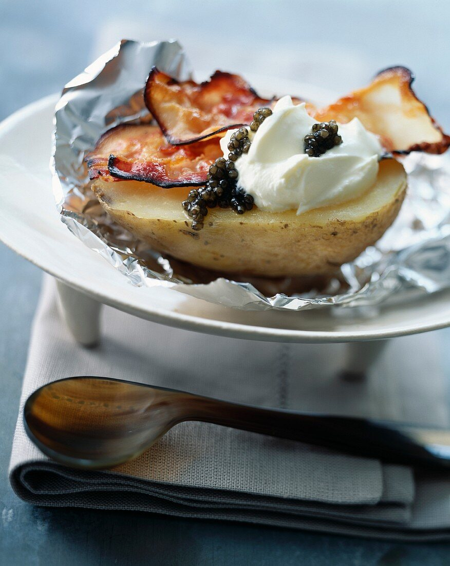 Caviar on a baked potato