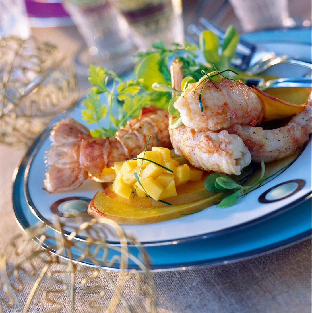 Dublin Bay prawns with mango, lime French dressing