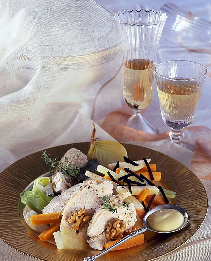 Poached turkey with vegetables and walnut oil vinaigrette