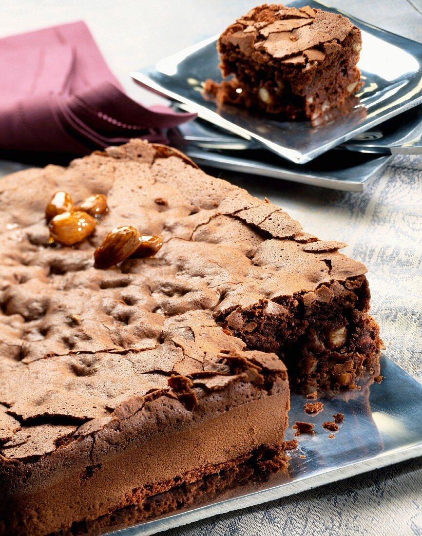 Dark chocolate and dried fruit sponge cake