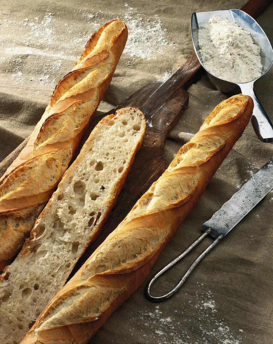 baguette sliced lengthways