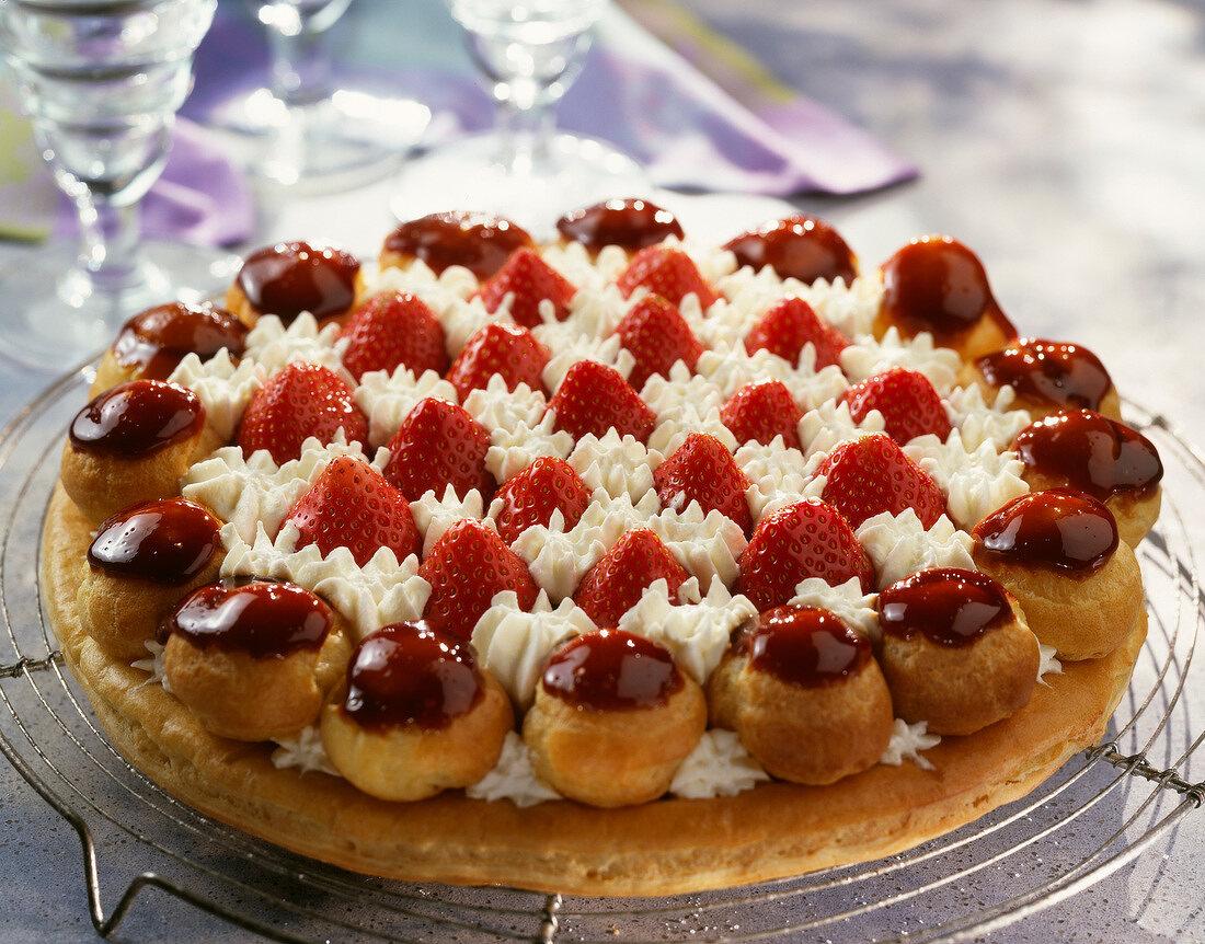 Saint Honore strawberry cake dessert