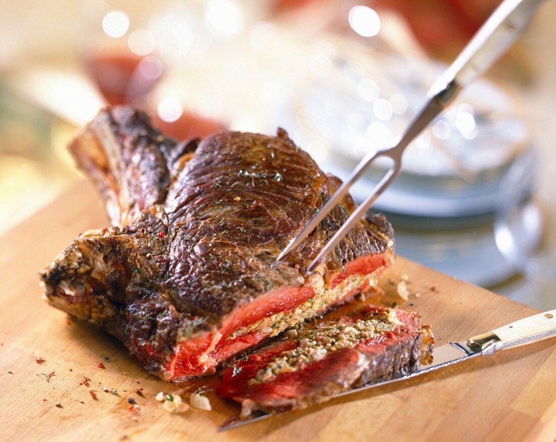 Stuffed rib of beef