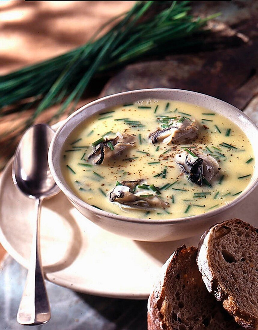 Seafood soup with oysters