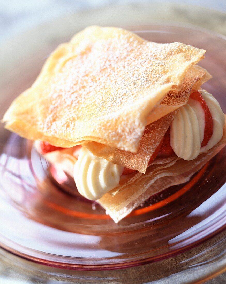 Strawberry and lemon cream flaky pastry dessert