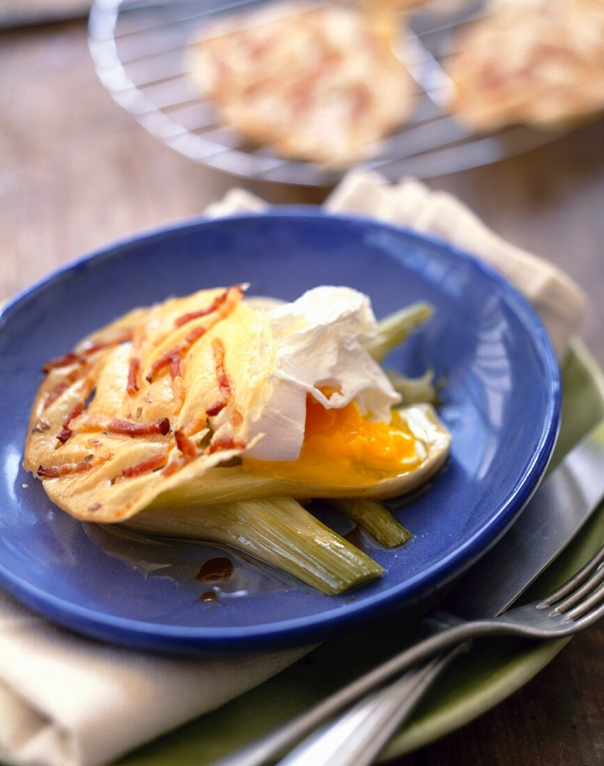 Poached egg with fennel and diced bacon tuile biscuit