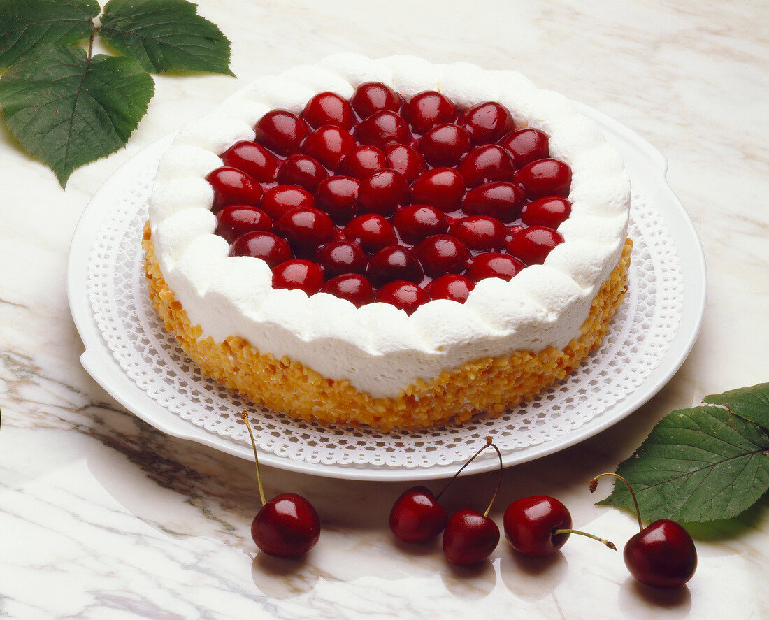 Cherry and fromage frais Caprice dessert
